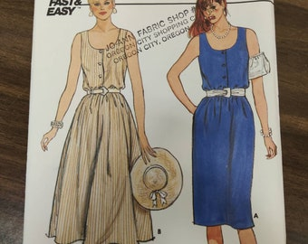 Butterick 6603 Sleeveless Jumper Sun Dress with Full or Straight Skirt Easy to Sew Vintage Fashion Sewing Pattern 1980s 80s Size 12 14 16