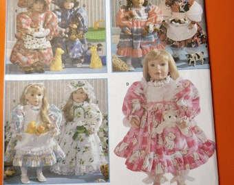 """Simplicity 8134 American Girl 18"""" Doll Country Wardrobe Vintage Sewing Patterns  Dress Bonnet Pinafore 1990s 90s UNCUT by Faith Van Zanten"""