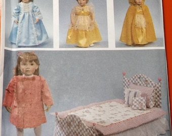"""Simplicity 7900 American Girl 18"""" Doll Wardrobe and Bedding Vintage Fashion Sewing Patterns Party School Cape Dress 1990s 90s UNCUT"""