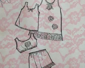 Children's Classic Underwear Slip Undershirt Bloomers Petti Pants Vintage Fashion Sewing Pattern Size 4 Child 1960s 60s UNCUT