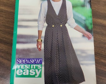 Butterick 6447 Sleeveless Dress/Double Breasted Jumper and Top See and Sew Vintage Fashion Sewing Pattern 1990s 90s Plus Size C (18 20 22)