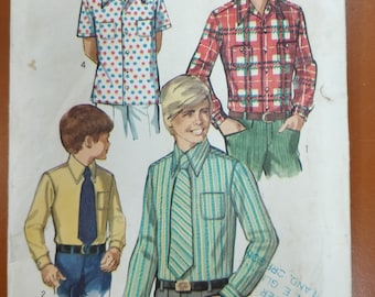 Simplicity 8901 Children's Button Up Shirt and Tie Dress Casual Vintage Fashion Sewing Pattern 1970s 70s Size 7 Boys