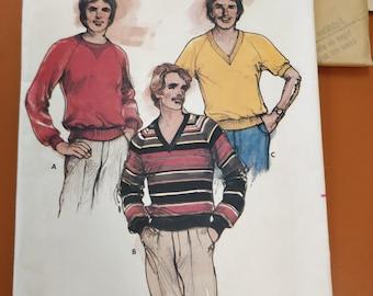Butterick 3431 Men's Adult Shirt Sweatshirt T-Shirt 80s Classic Fashion Vintage Sewing Pattern 1980s 80s Size XL UNCUT
