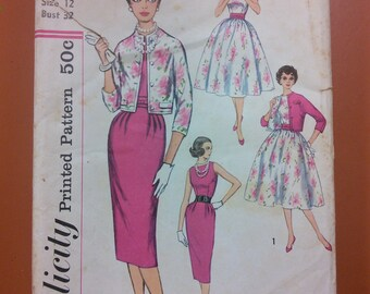 Simplicity 2407 Classic 50s Dress Full & Slim Skirt Dress Jacket Vintage Sewing Pattern 1950s 50s Size 12 Casual to Dressy