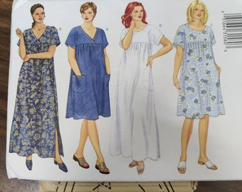 Butterick 6601 Short Sleeve House Dress MuuMuu Coverup Easy to Sew Vintage Sewing Pattern 2000s Plus Size 16W 18W 20W UNCUT