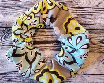 80s Style Teal and Lime Paisley Hair Scrunchies 2pk ~Custom Made~ Hair Accessories 100/% Cotton