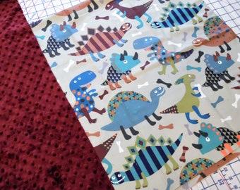 "Funky Dinosaur Minky Blanket 36"" x 42"""