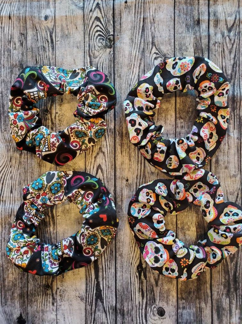 Sugar Skull Hair Scrunchies 2pk 100% Cotton Custom Made image 0