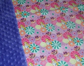 Alice in Wonderland Purple Minky Blanket
