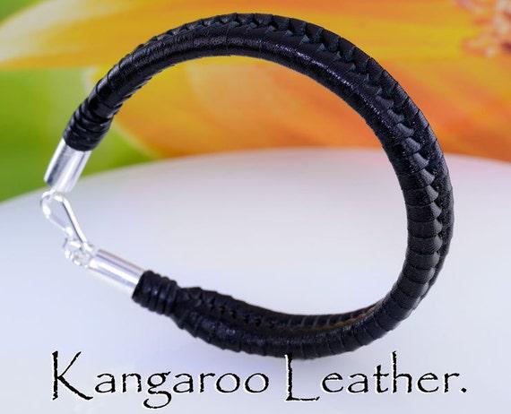 1B-920 AUSSIE MADE Sterling Silver Kangaroo Leather NEW Wristband Men Bracelet