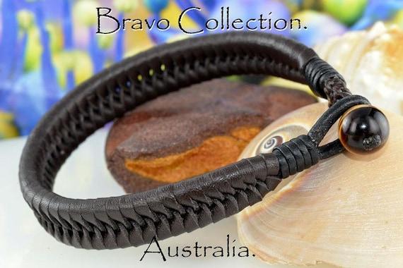 1B-095 HANDMADE Gift Kangaroo Leather Black Onyx NEW Armband Wristband Bracelet.