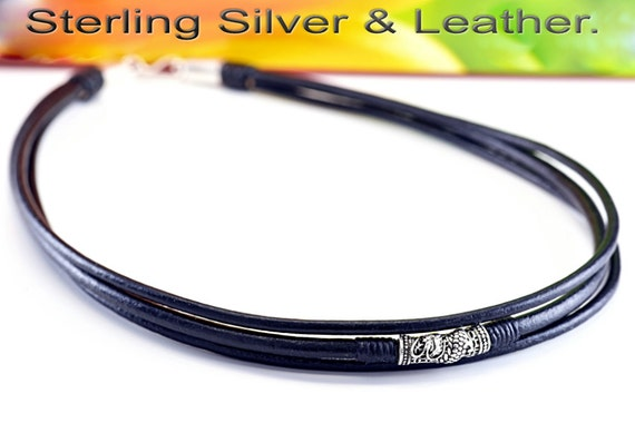 7N-364 Sterling Silver Beads New Adjustable Leather Cord Choker Men Necklace.