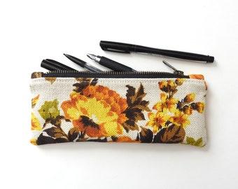 illustration clutch pencil case zipper pouch cute woman flowers blue purse garden
