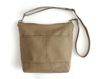 842613e7 Canvas Crossbody Bag, Large Zipper Purse, Tan