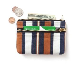 Stripe Denim Wallet Coin Purse Double Zipper Pouch