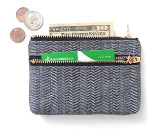 Herringbone Wallet Coin Purse Double Zipper Pouch Black