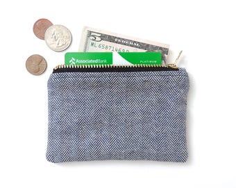 Slim Wallet Coin Purse Zipper Pouch Blue Herringbone Denim Fisher Stripe