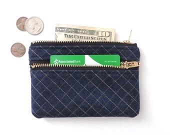 Wallet Coin Purse Double Zipper Pouch Grid Denim