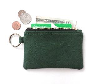 Canvas Keychain Wallet Coin Purse Zip Wallet Pouch Green