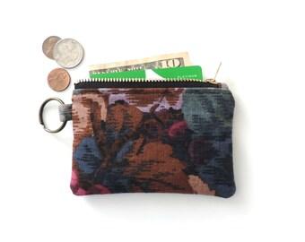 Keychain Wallet Coin Purse Zipper Pouch Botanical