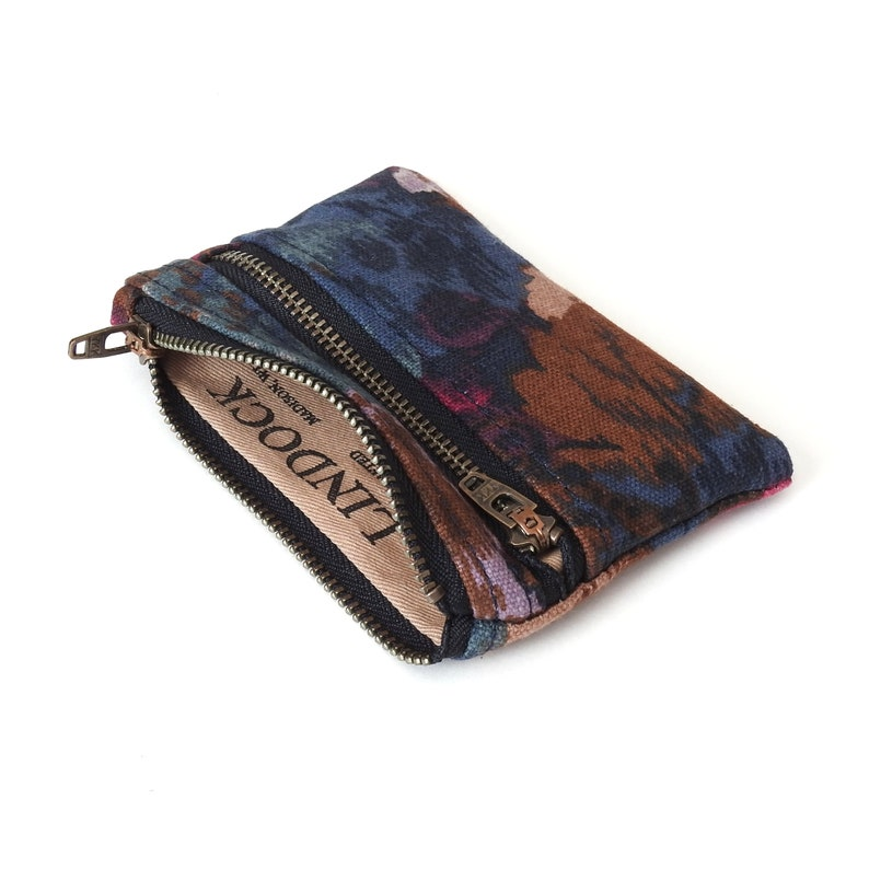 Botanical Canvas Double Zipper Wallet Pouch Handmade by Lindock