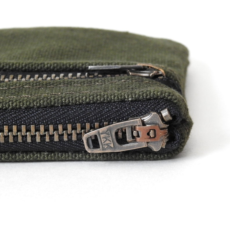 Handmade by Lindock Recycled Military Canvas Double Zip Wallet Pouch Coin Purse