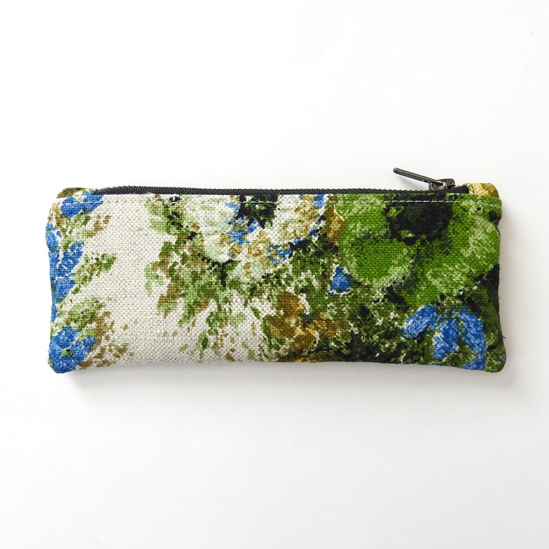 1970s Floral Pencil Case Zipper Pouch Handmade by Lindock