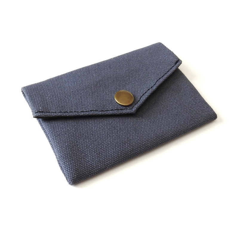 Gray Canvas Snap Wallet Handmade by Lindock