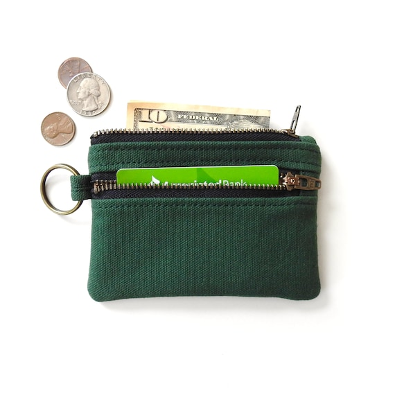 Canvas Wallet Slim Zipper Pouch Dark Green Coin Purse