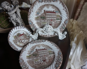 Vintage, Set of Four Johnson Brothers Heritage Hall Iron Stone Dinner Plates and Two Salad Plates