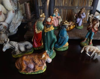Vintage, Italy Nativity Set with Creche