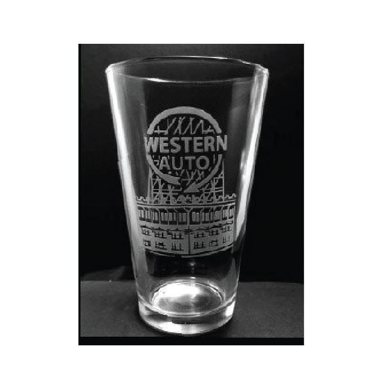 Kansas City Western Auto Sign Etched Pint Glass Kansas