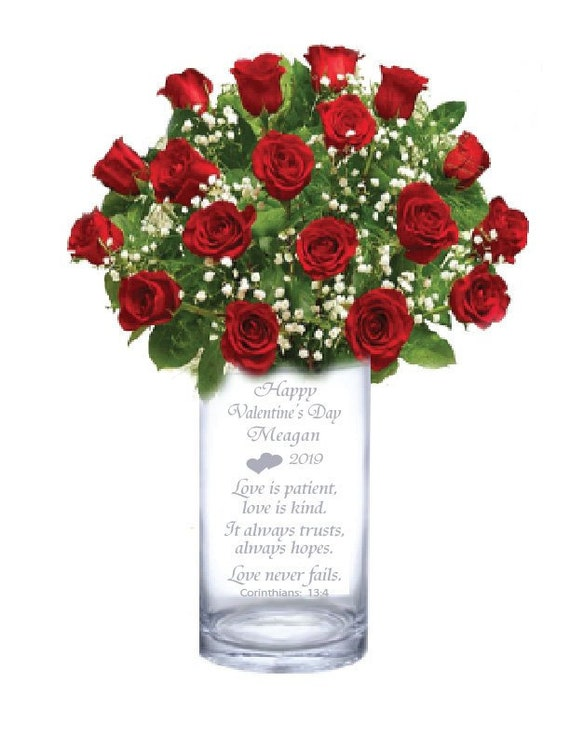 Personalised Vase Engraved Valentines Gift For Her
