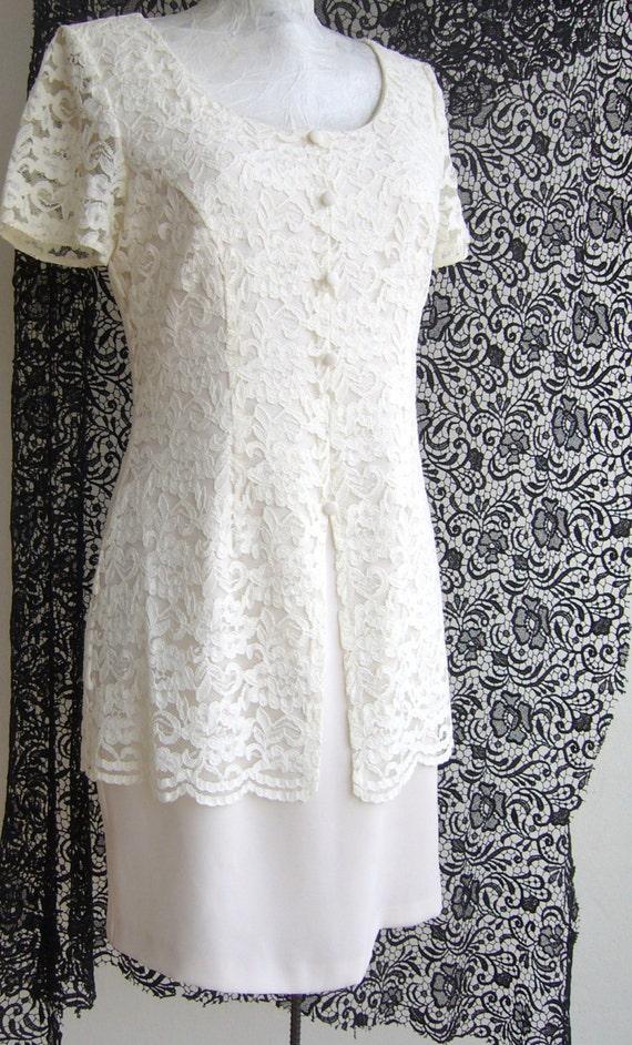 White lace dress vintage/Vintage white dress 1960s