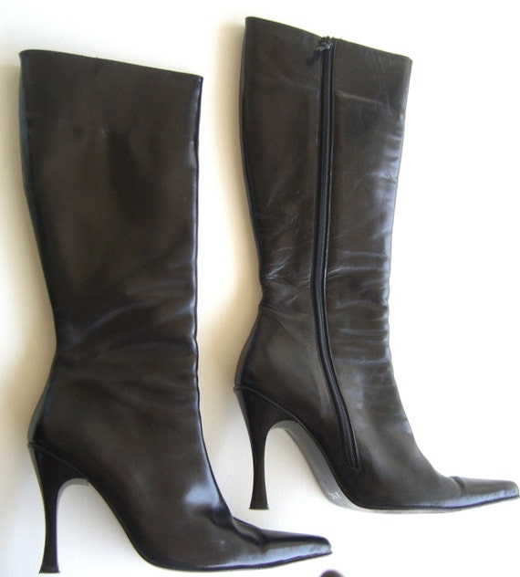Black leather boots long/leather boots long/pointy