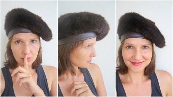 Women faux fur hat brown / russian women hat vinta