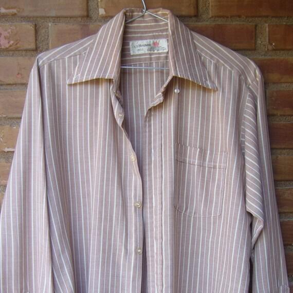 Mens striped shirt long sleeve/mens shirt tan stri