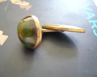 Jade cufflink/cuff stud jade/vintage cufflink 1960s
