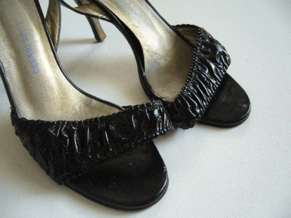 Vintage 1980s black leather shoes/women leather sh