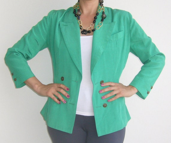 Neon green woman jacket slim / double breasted gre