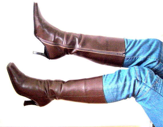 Top boot leather brown /Leather boots 8 for women/