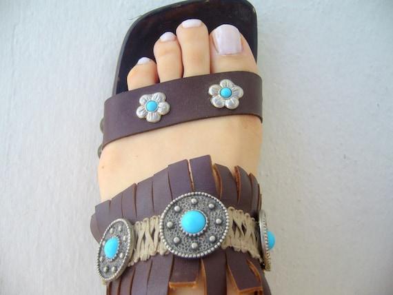Boho wood sandal/Leather sandals fringedboho sanda