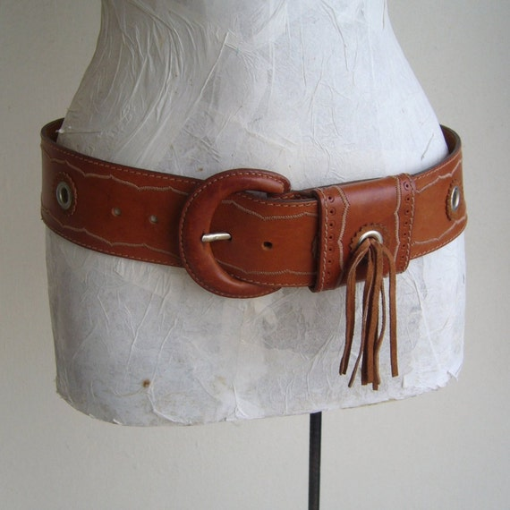 Leather belt tan for woman