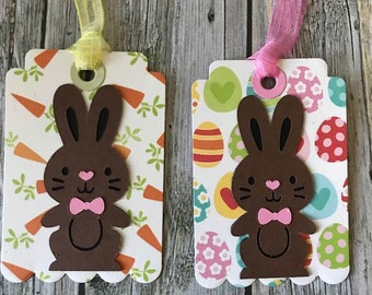 Handmade Easter bunny tags (set of 2)-Easter gift tags-Easter basket gift tags-Easter favor tags-Handmade Easter basket tags