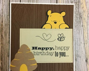 PERSONALISED WINNIE THE POOH /& FRIENDS BIRTHDAY CARD A3 SIZE HAND FINISHED