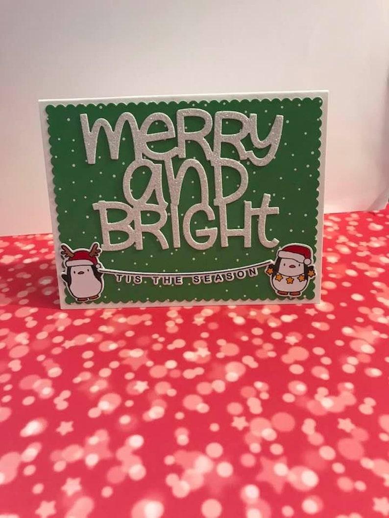 handmade merry  bright penguin christmas cardhandmade  etsy