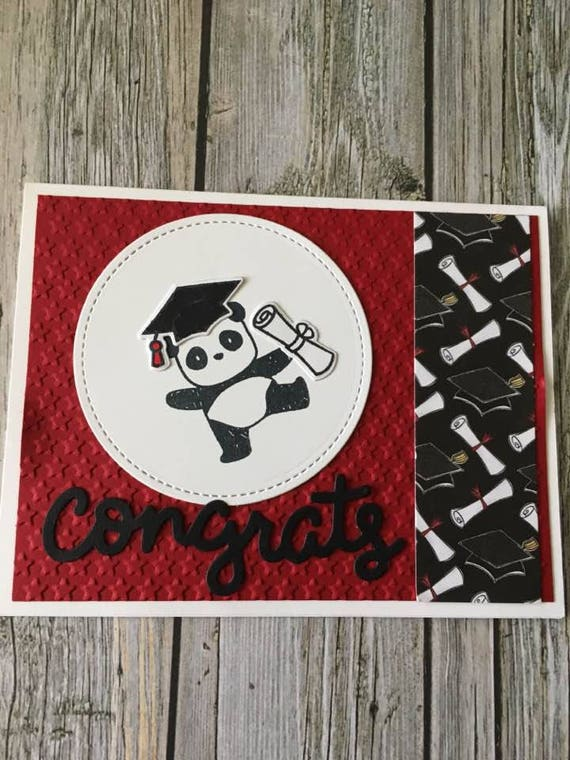 Panda Graduation Card Handmade Graduation Card High School Etsy