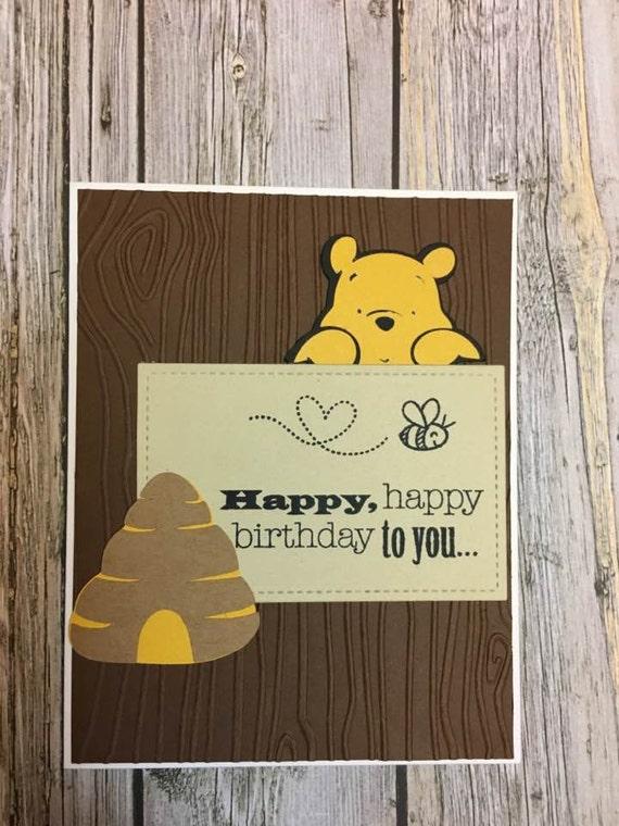 Winnie The Pooh Inspired Birthday Card Disney Inspired Etsy