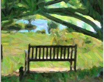 Park Bench Under a Shade Tree,  Dawes Arboretum, near Columbus Ohio