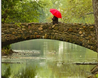 Red Umbrella crossing Stone Bridge in Sepia, Snyder Park, Springfield Ohio